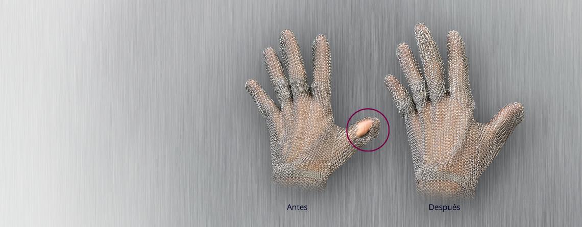 Reparación de guantes de malla